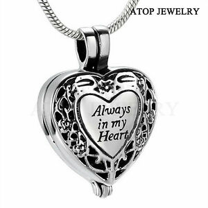 NEW Always in my Heart Locket Urn Necklace Jewelry Cremation Ashes With Tool