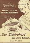 Rosenthal Brat und Grillhaube Elektroherd auf dem Tisch Prospekt Anleitung 1933