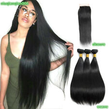 "Brazilian Straight 100% Remy Human Hair Weave 3 Bundles With 4*4"" Lace Closure"