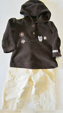 Brown Fleece Hoodie with Owl w/ Yellow Gap Pant Girls Size 9 months