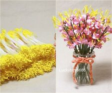 250pcs Yellow Double Sided Round Flower Stamen Craft Artificial floral Cards DIY