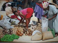 "HAITI PAINTING ON CANVAS HAITIAN MASTER EMILE LOUISIUS ""MARKET PLACE"" 36 X 24"