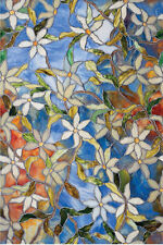 """Clematis Static cling stained glass window film vinyl 24"""" x 36"""" Privacy Security"""