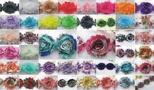 160 assorted lot Shabby Chic Rose Frayed Chiffon Hair Flower for Headband,Trim