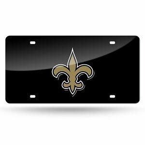 New Orleans Saints NFL Black Laser Tag License Plate