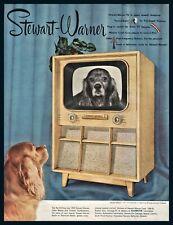 1951 Stewart Warner 9202-F Mid-Century Modern Television Tv Ad Cocker Spaniel
