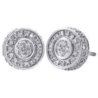10K White Gold Real Diamond Stud 10mm 3D Circle Shape Mens Pave Earrings 0.50 Ct