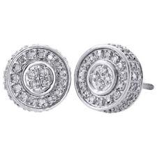 673b7ef12c25 10 Quilates Oro Blanco Diamante Auténtico Tacha 10mm 3d Círculo Forma Hombre