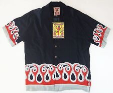"MAMBO LOUD SHIRT BLACK FLAMES XL 52"" CHEST NEW WITH TAGS RARE"