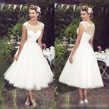 Short Lace Tea Length Wedding Dresses Sheer Neck Capped Sleeves Bridal Gowns New