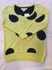 NWT Anthropologie Women's Cotton Polka Dot Pullover Sweater Yellow/Navy Sz M