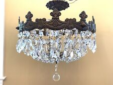"Vintage Semi FLush Mount Crystal Beaded Basket Chandelier Ceiling Fixture 17"""
