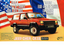 PUBLICITE ADVERTISING   1986   RENAULT JEEP CHEROKEE  4X4 ( 2  pages)