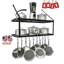 New listing Kitchen Home Wall Mounted Pot Pan Rack Holder Cookware Storage Shelf Hanger Hook