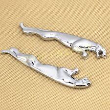 2x Silver Metal Styling Jaguar 3D Logo Emblem Badge Sticker Decals Accessories