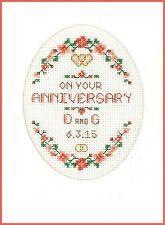 Cross stitch card for ANY Wedding Anniversary - complete kit on 16 aida