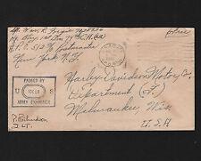 OPC 1943 APO 512 Algeria to Harley Davidson Motor Co Milwaukee Wis Censor Free M