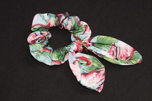 Tropical Pink Green & Blue Exotic Flamingo Print Wire Bow Hair Scrunchie (s191)