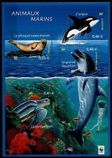 WWF, Meeresfische,u.a. Schildkröte, Delfin, Wal, Seehund. Block.Frankreich 2002