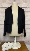 ZARA Women's Size L 10/12 Black Open Front Blazer Jacket Lined Career