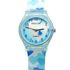 Children Watch Lovely Heart Silicone Strap Analog Quartz Watches Girl Wristwatch