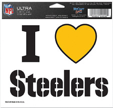 I  Love Steelers Ultra Decal  NFL Licensed White 5x6 inch Pittsburgh Gold Heart