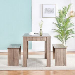 Modern 3Pcs Dining Bench Set Table+ 2 Chairs Dining Room Kitchen for Small Space