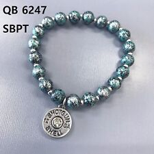 Patina Colored Beads Bullet Shell Design Charm Stretchable Bangle Bracelet