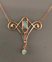 9906063 925er Silber rosévergoldet Jugendstil-Collier mit Opal