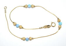 14kt Gold Filled Chain Stardust Beads and Light Blue OPAL Beads ANKLET Your size