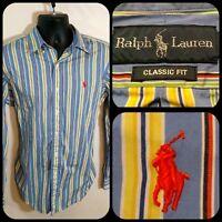 Ralph Lauren Mens classic fit Shirt Medium yellow blue striped