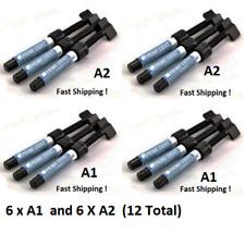 12 NEW Prime Dent A2 A1 4.5 g Light Cure Hybrid Dental Resin Composite Syringe