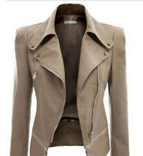 Irregular Women Ladies Leather Lapel Long Sleeve Zip Blazer Biker Jacket Coat