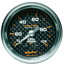 "Auto Meter Carbon Fiber 100 psi Mechanical Oil Pressure Gauge 2 1/16"" (52mm)"
