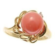 vere naturali non trattato rosa corallo sfera diamante anello SOLIDO 14K