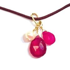 "Natural Ruby Teardrop & Pearl Charm Necklace 18k gold 16"" dark brown cord ROXY"