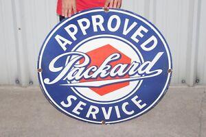 """Large Approved Packard Service Car Dealership Gas Oil 30"""" Porcelain Metal Sign"""