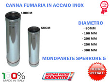 CANNE FUMARIE TUBO IN ACCIAIO INOX CANNA FUMARIA 80 100 200 250 300