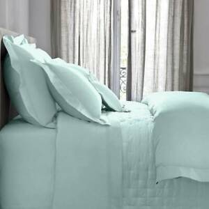 YVES DELORME Triomphe Double Duvet Cover Egyptian Cotton Sateen, Celadon RRP£289