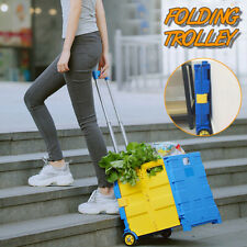 30Kg Foldable Trolley Rolling Shopping Wheels Cart Collapsible Basket