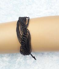 Unisex Adjustable Black Corded Bracelet 15-20 cm NO METAL