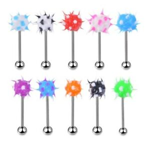 Soft Spike Tongue Bar 8mm Ball Silicone Stainless Steel Body Piercing 14G 1.6mm