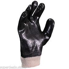 "120 PAIRS Black PVC rough finish interlock knit wrist 10"" work glove - LARGE"