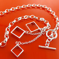 Necklace Chain 925 Sterling Silver S/F Ladies Statement Tbar Dangly Pendants