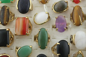 Wholesale Lots 40pcs Mixed Gold Plated Jewelry Charm Natural Stone Women Rings