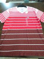 """Ecko Unltd""  V-Neck Red and Brown Stripe Shirt Size Large - New"