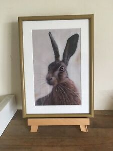 """Fab Country Style Sitting Hare Picture In A Rustic Wood Style Frame 13x10"""""""