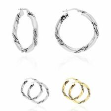 Yellow White Gold Over Sterling Silver Twisted Popcorn Shiny Hoop Earrings 33mm
