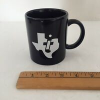 Vintage Texas Instruments Coffee Mug - Navy Blue and White - Vintage Computers