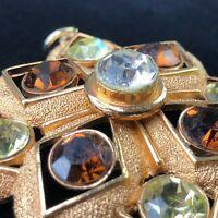 Vintage Sarah Coventry Starburst STATEMENT Pendant 9 LARGE Rhinestones Gold Tone